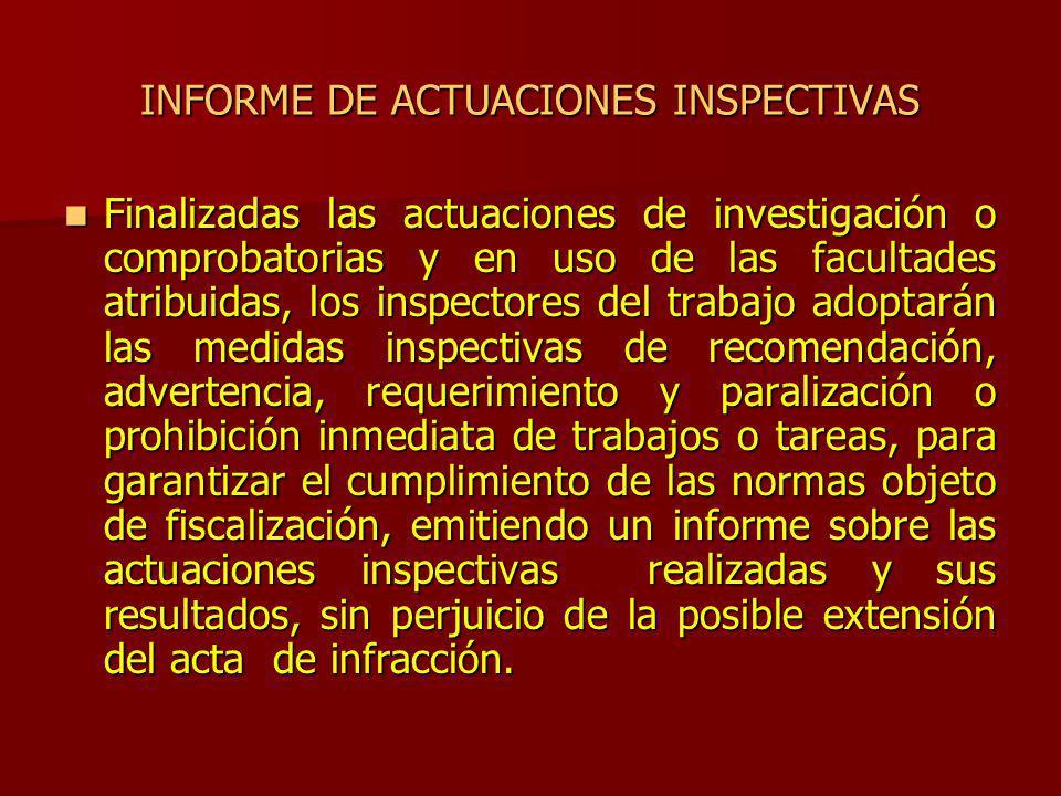 INFORME DE ACTUACIONES INSPECTIVAS