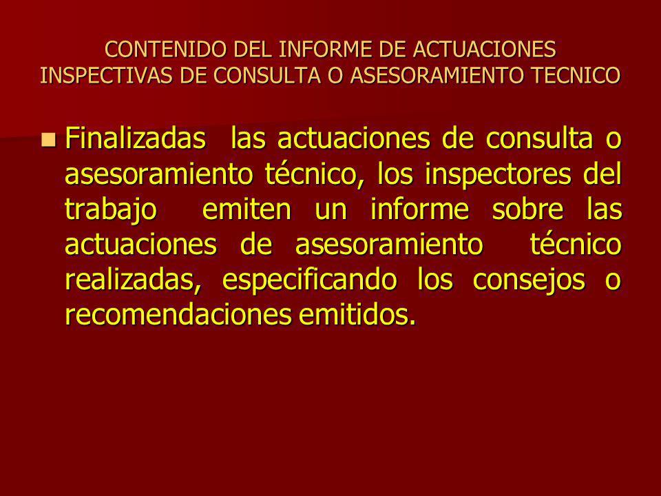 CONTENIDO DEL INFORME DE ACTUACIONES INSPECTIVAS DE CONSULTA O ASESORAMIENTO TECNICO