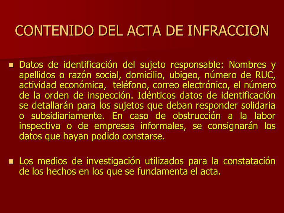 CONTENIDO DEL ACTA DE INFRACCION
