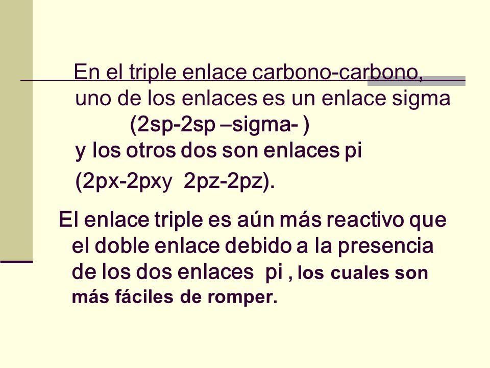 En el triple enlace carbono-carbono, uno de los enlaces es un enlace sigma (2sp-2sp –sigma- ) y los otros dos son enlaces pi (2px-2pxy 2pz-2pz).