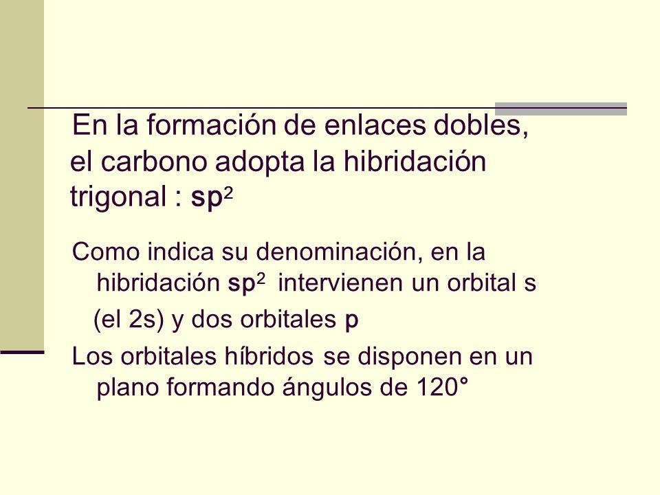 En la formación de enlaces dobles, el carbono adopta la hibridación trigonal : sp2