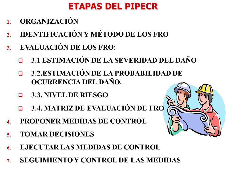 ETAPAS DEL PIPECR ORGANIZACIÓN IDENTIFICACIÓN Y MÉTODO DE LOS FRO