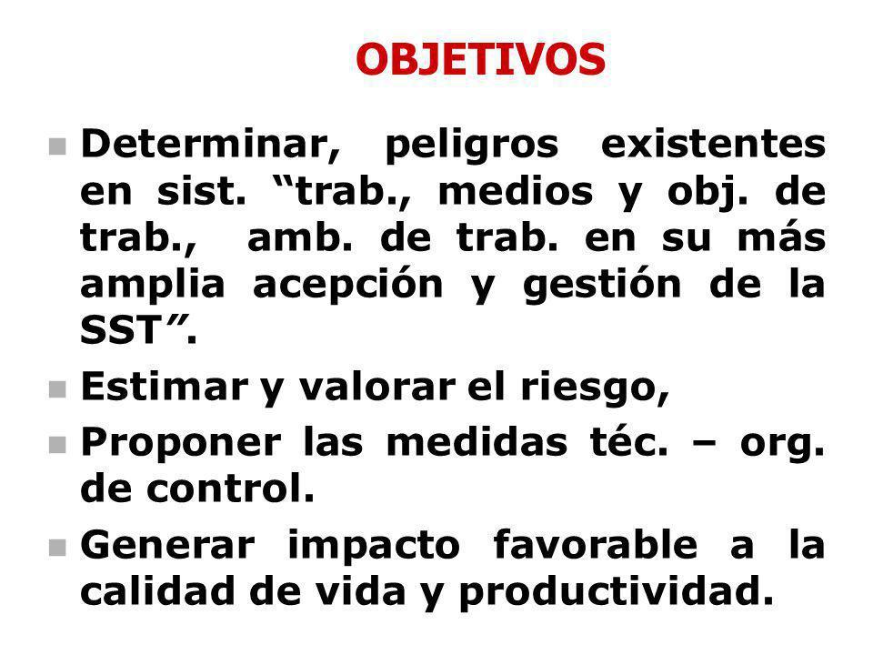 OBJETIVOS Determinar, peligros existentes en sist. trab., medios y obj. de trab., amb. de trab. en su más amplia acepción y gestión de la SST .