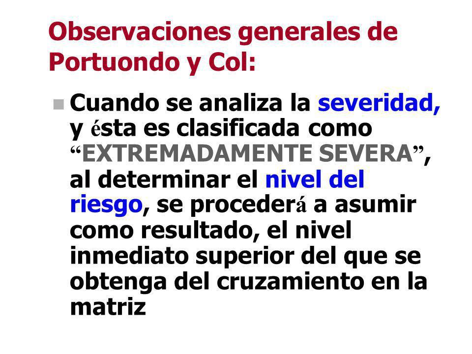 Observaciones generales de Portuondo y Col: