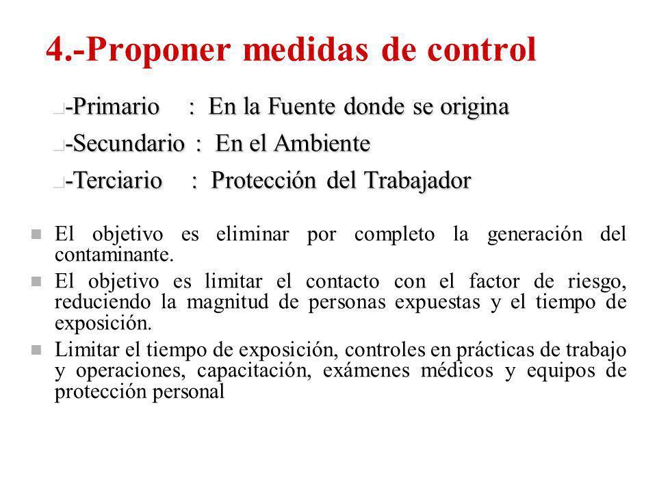 4.-Proponer medidas de control