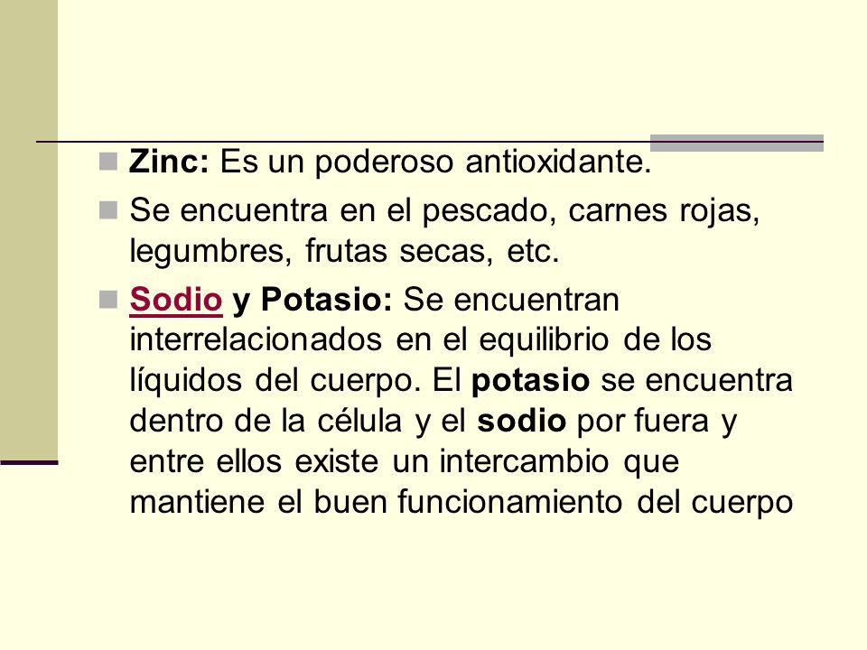 Zinc: Es un poderoso antioxidante.
