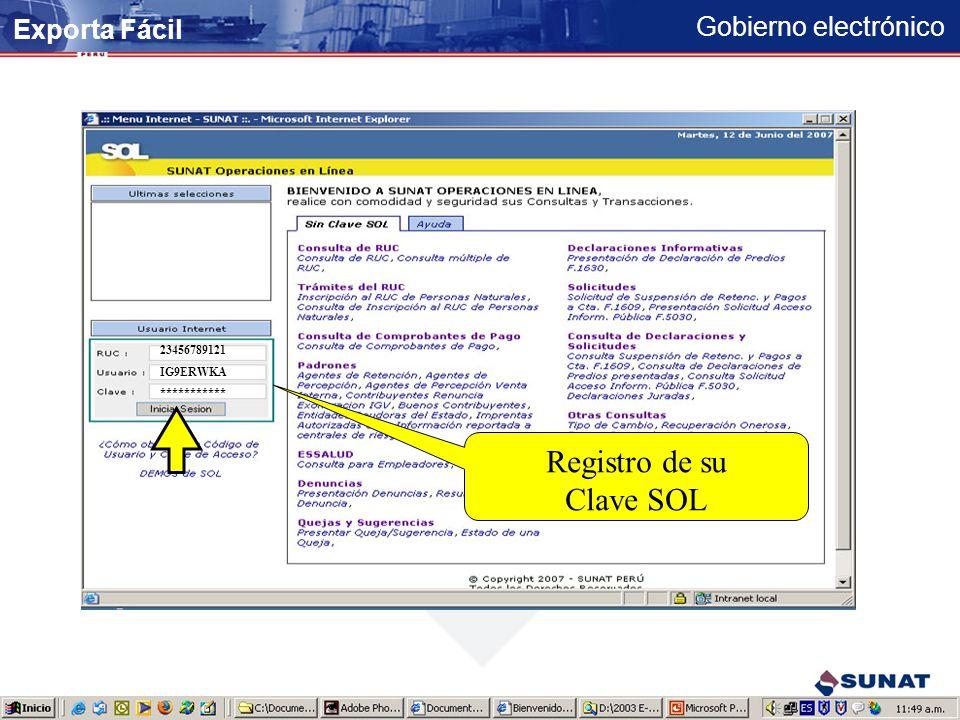 Registro de su Clave SOL Exporta Fácil 23456789121 IG9ERWKA