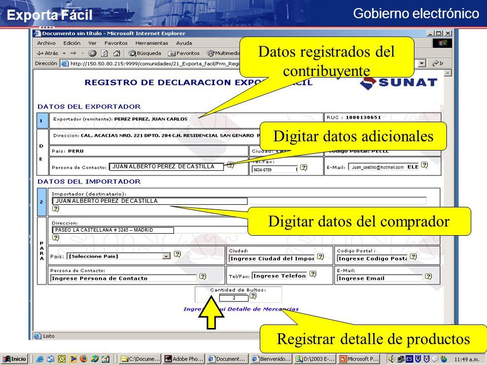 Datos registrados del contribuyente
