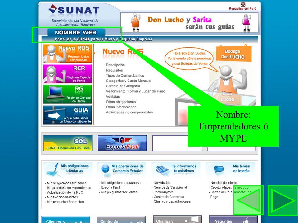 Nombre: Emprendedores ó MYPE