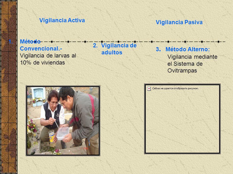 Vigilancia Activa Vigilancia Pasiva. Método Convencional.- Vigilancia de larvas al 10% de viviendas.