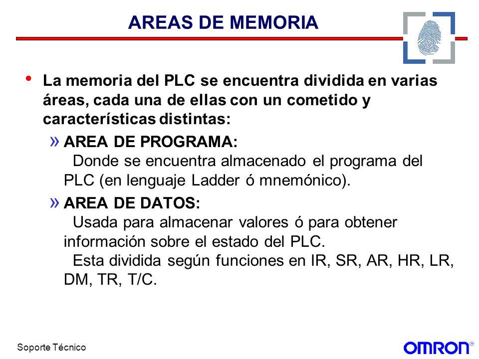 AREAS DE MEMORIA La memoria del PLC se encuentra dividida en varias áreas, cada una de ellas con un cometido y características distintas: