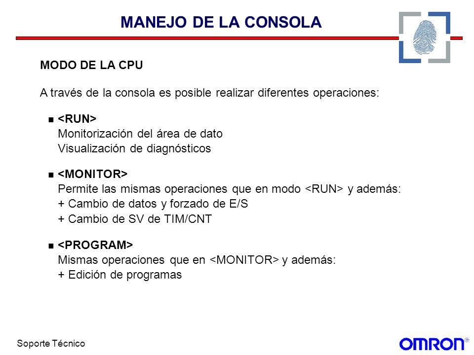 MANEJO DE LA CONSOLA MODO DE LA CPU