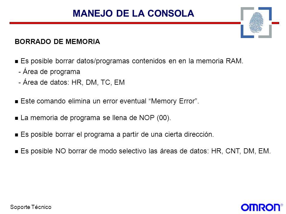 MANEJO DE LA CONSOLA BORRADO DE MEMORIA