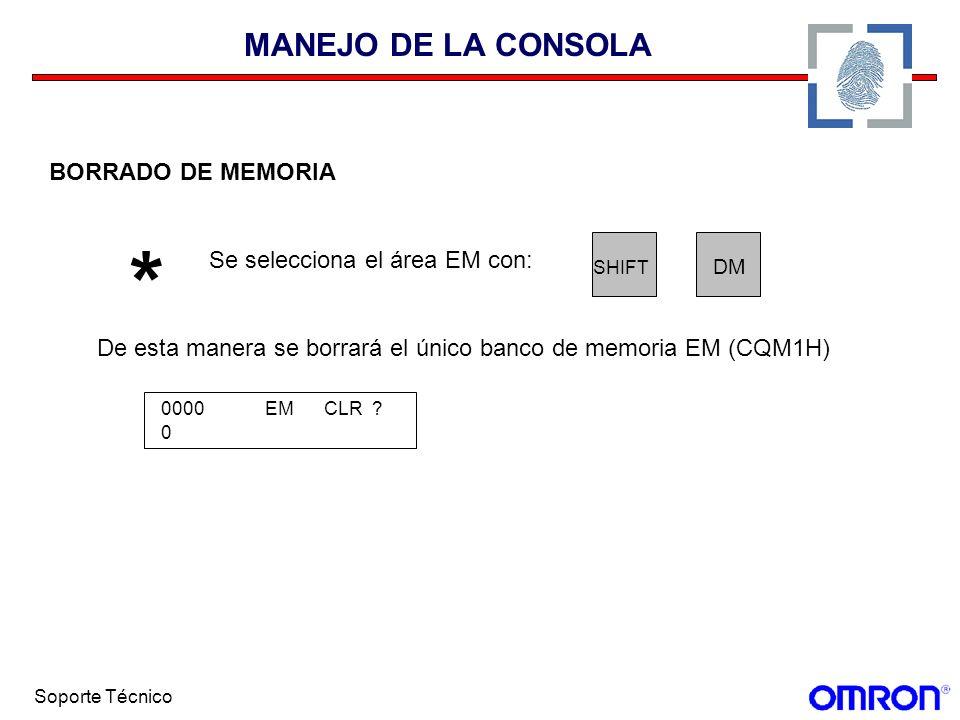 * MANEJO DE LA CONSOLA BORRADO DE MEMORIA
