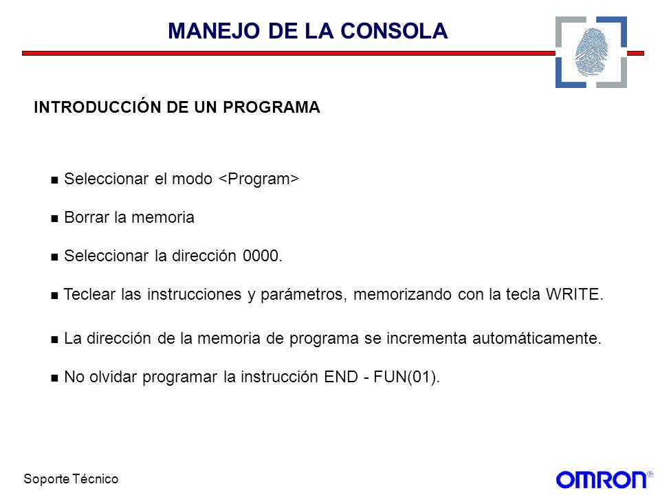 MANEJO DE LA CONSOLA INTRODUCCIÓN DE UN PROGRAMA