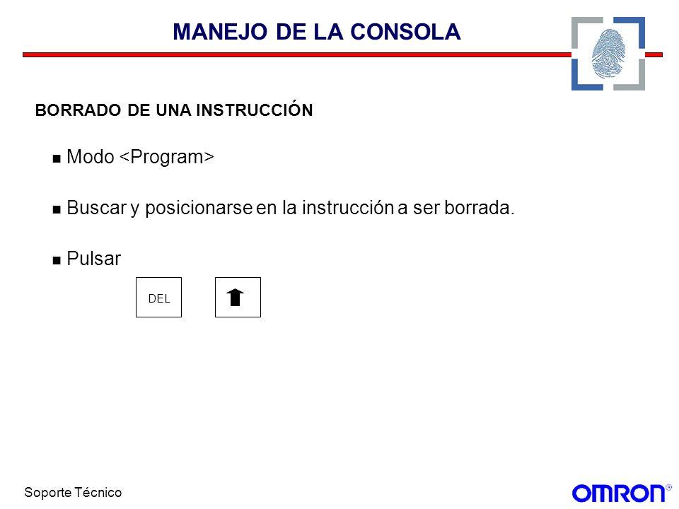 MANEJO DE LA CONSOLA Modo <Program>