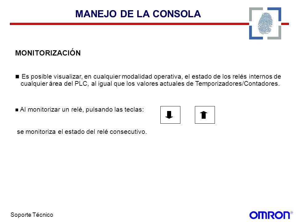 MANEJO DE LA CONSOLA MONITORIZACIÓN. Es posible visualizar, en cualquier modalidad operativa, el estado de los relés internos de.