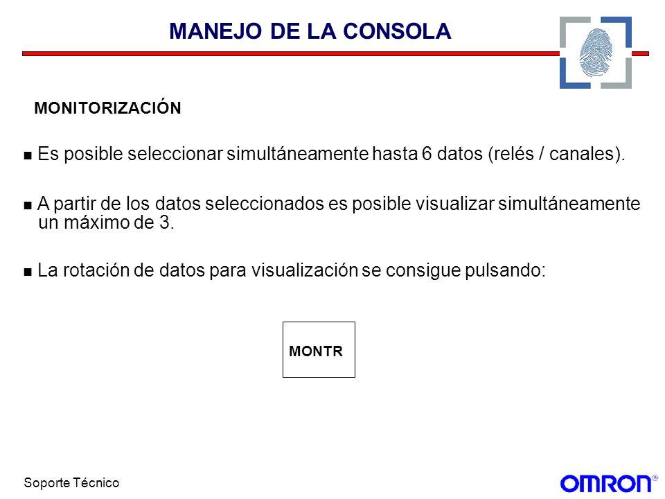 MANEJO DE LA CONSOLA MONITORIZACIÓN. Es posible seleccionar simultáneamente hasta 6 datos (relés / canales).