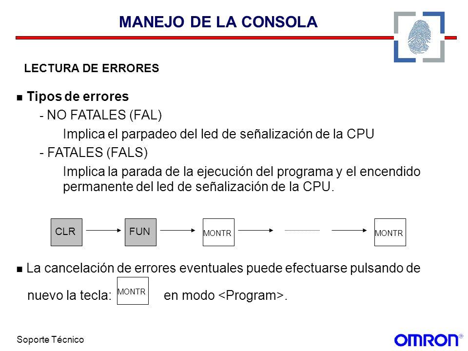 MANEJO DE LA CONSOLA Tipos de errores - NO FATALES (FAL)