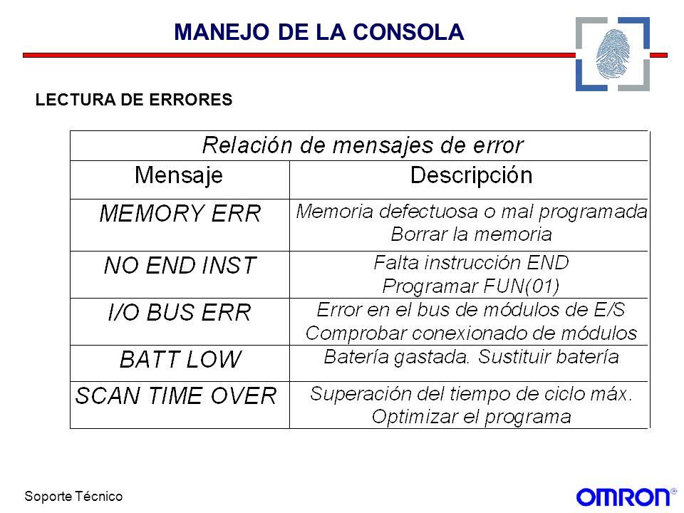 MANEJO DE LA CONSOLA LECTURA DE ERRORES Soporte Técnico