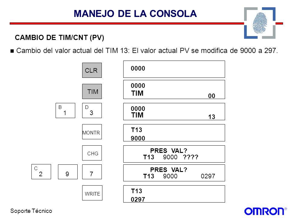 MANEJO DE LA CONSOLA CAMBIO DE TIM/CNT (PV) Cambio del valor actual del TIM 13: El valor actual PV se modifica de 9000 a 297.