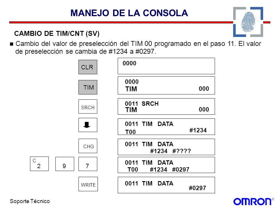 MANEJO DE LA CONSOLA CAMBIO DE TIM/CNT (SV) Cambio del valor de preselección del TIM 00 programado en el paso 11. El valor.