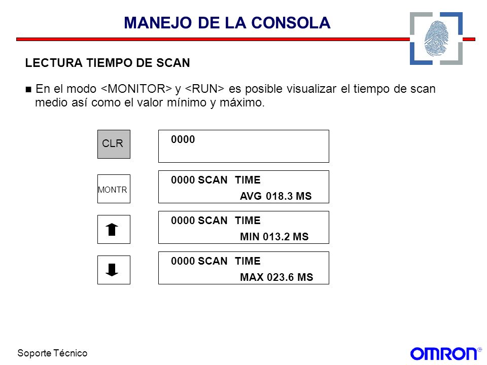 MANEJO DE LA CONSOLALECTURA TIEMPO DE SCAN. En el modo <MONITOR> y <RUN> es posible visualizar el tiempo de scan.