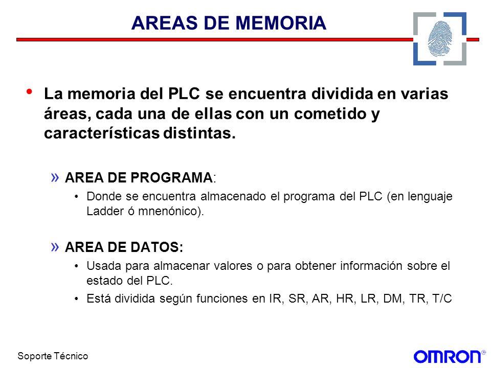 AREAS DE MEMORIA La memoria del PLC se encuentra dividida en varias áreas, cada una de ellas con un cometido y características distintas.