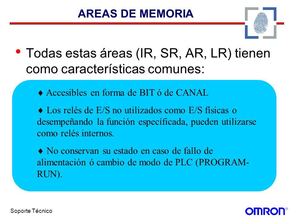 AREAS DE MEMORIA Todas estas áreas (IR, SR, AR, LR) tienen como características comunes:  Accesibles en forma de BIT ó de CANAL.