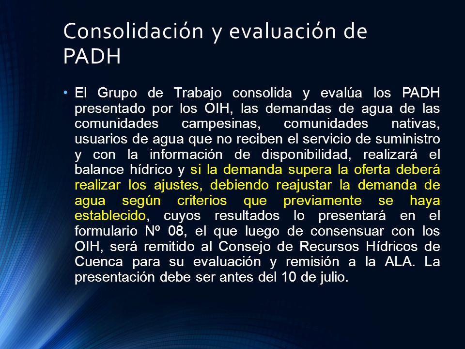 Consolidación y evaluación de PADH
