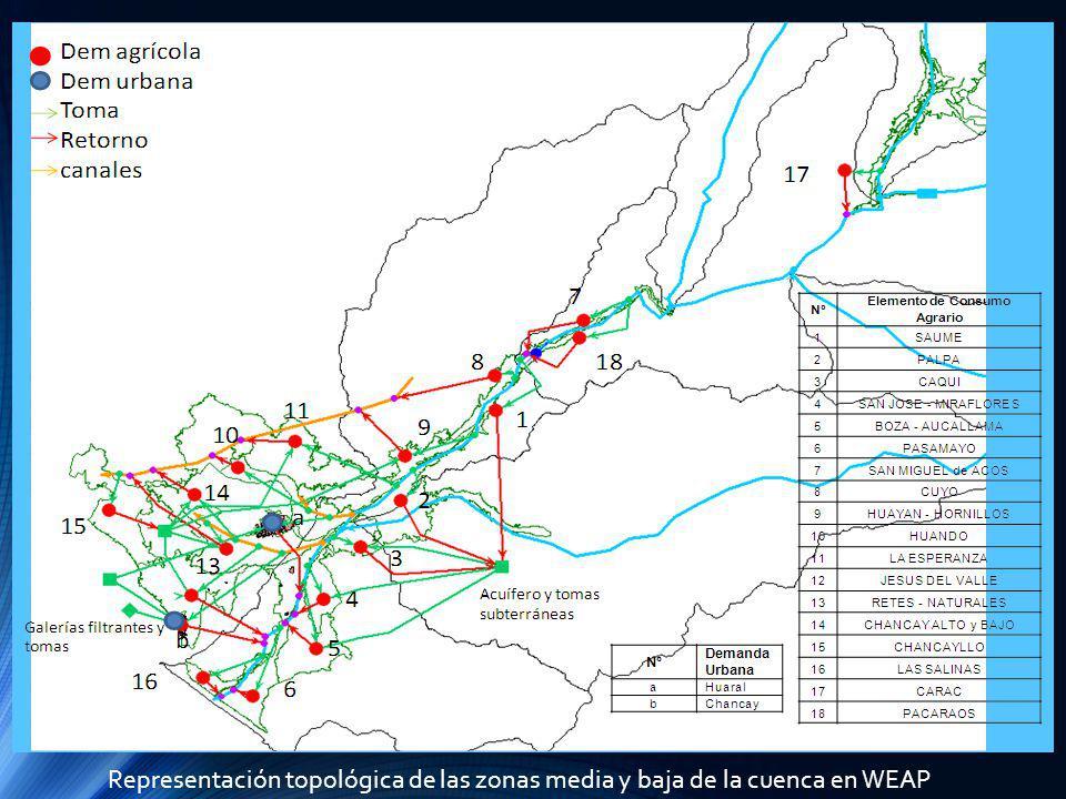 Representación topológica de las zonas media y baja de la cuenca en WEAP
