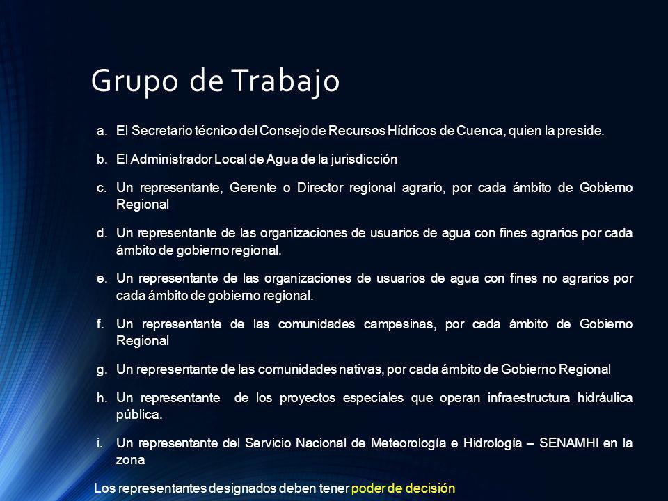 Grupo de Trabajo El Secretario técnico del Consejo de Recursos Hídricos de Cuenca, quien la preside.