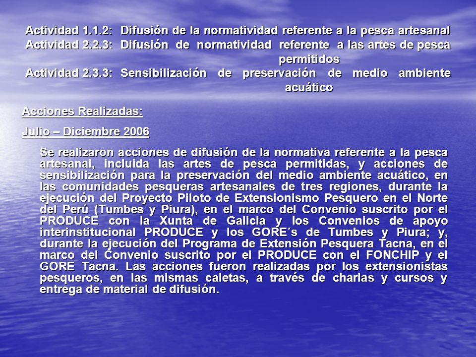 Actividad 1.1.2: Difusión de la normatividad referente a la pesca artesanal Actividad 2.2.3: Difusión de normatividad referente a las artes de pesca permitidos Actividad 2.3.3: Sensibilización de preservación de medio ambiente acuático