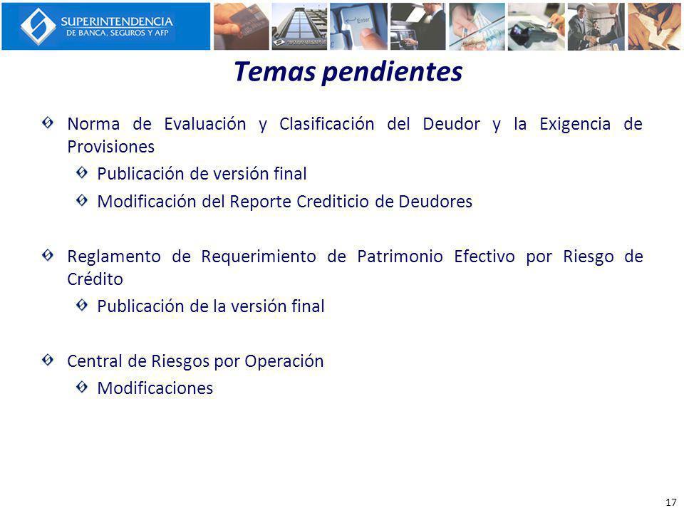 Temas pendientes Norma de Evaluación y Clasificación del Deudor y la Exigencia de Provisiones. Publicación de versión final.