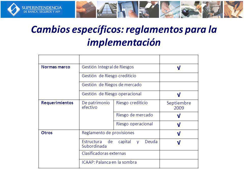 Cambios específicos: reglamentos para la implementación
