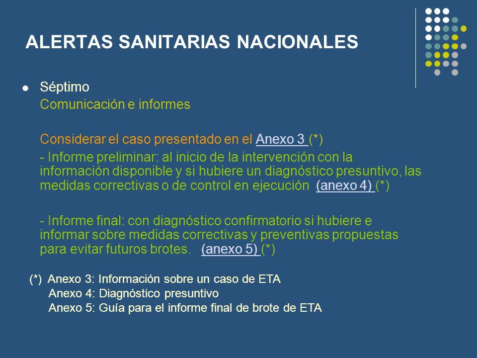 ALERTAS SANITARIAS NACIONALES