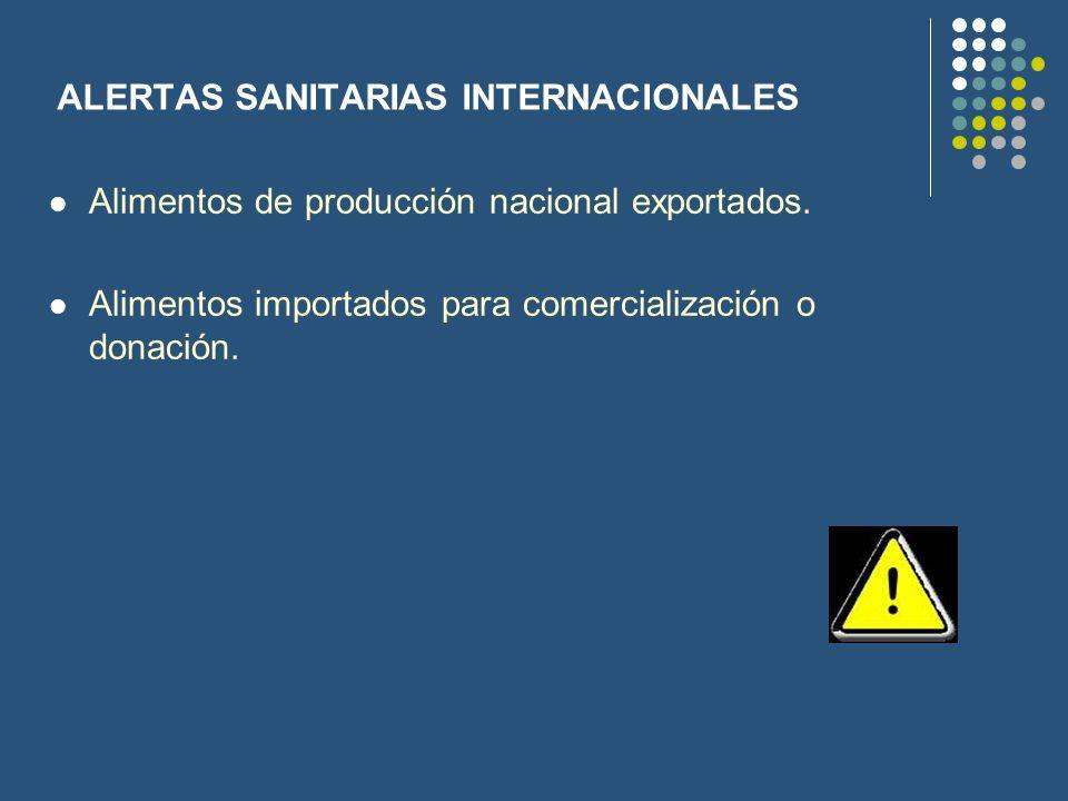 ALERTAS SANITARIAS INTERNACIONALES