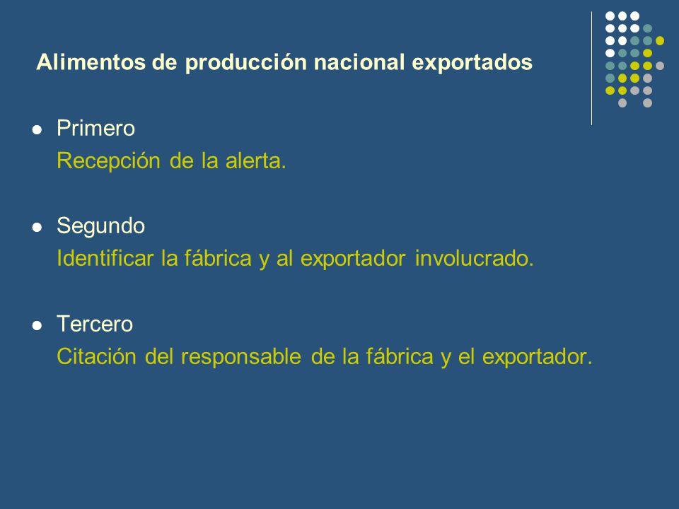 Alimentos de producción nacional exportados
