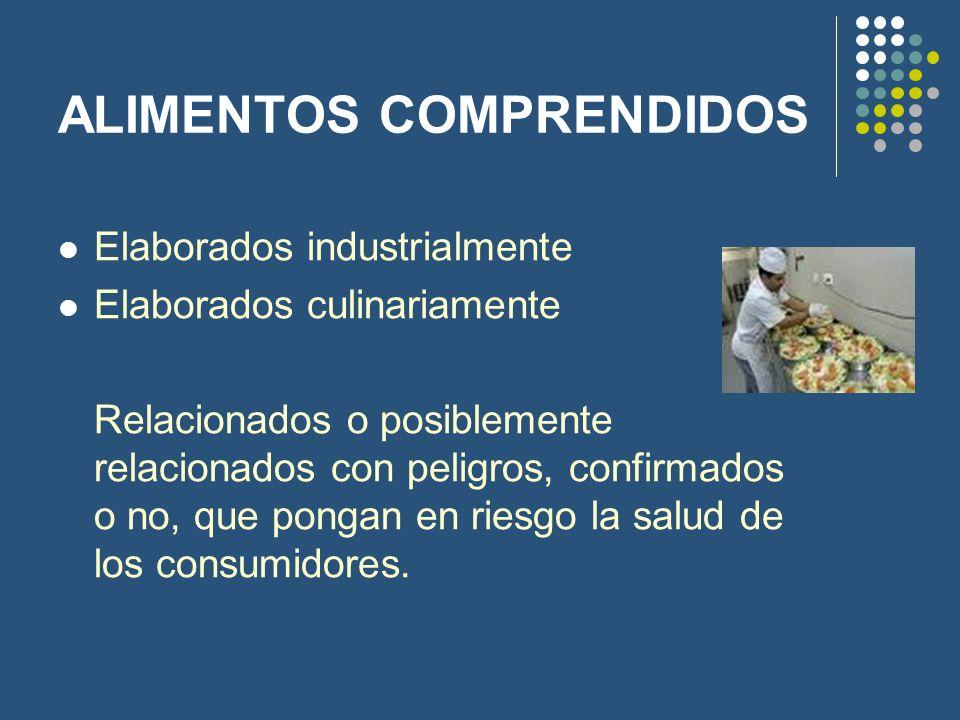 ALIMENTOS COMPRENDIDOS