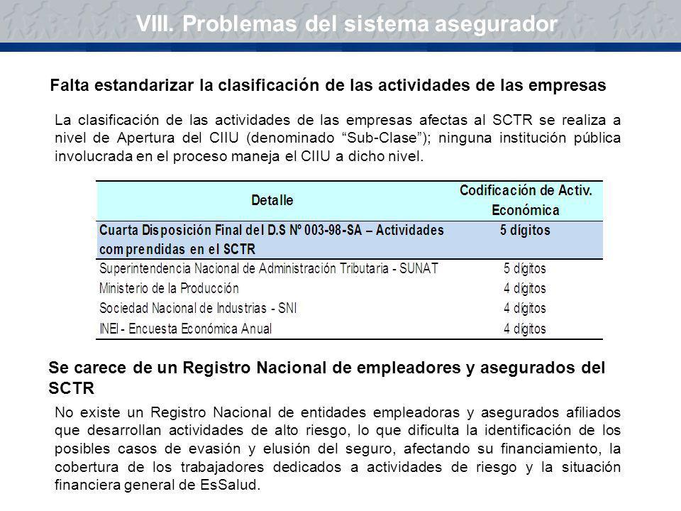 VIII. Problemas del sistema asegurador