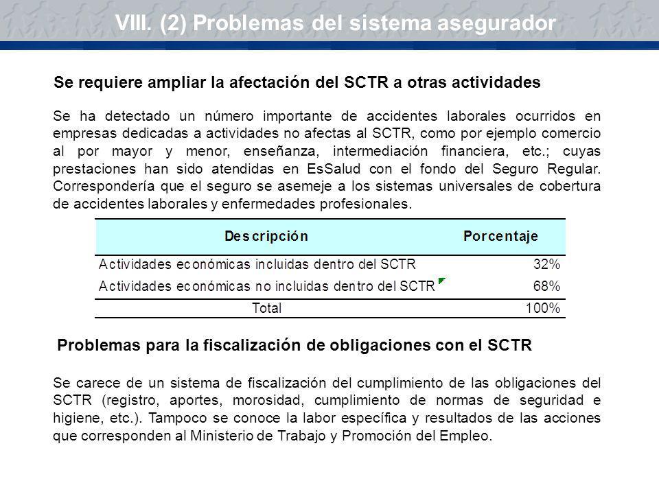 VIII. (2) Problemas del sistema asegurador