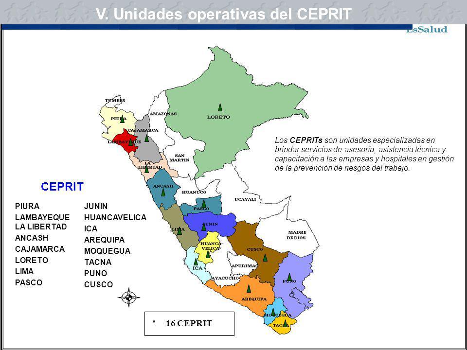 V. Unidades operativas del CEPRIT V. Centros de prevención del CEPRIT