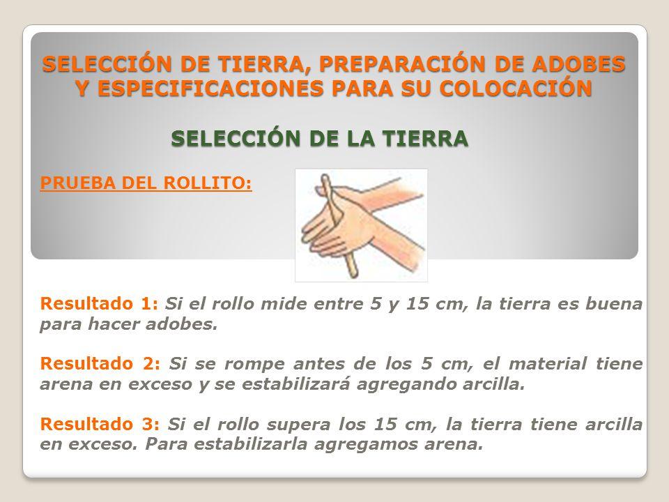 SELECCIÓN DE TIERRA, PREPARACIÓN DE ADOBES Y ESPECIFICACIONES PARA SU COLOCACIÓN