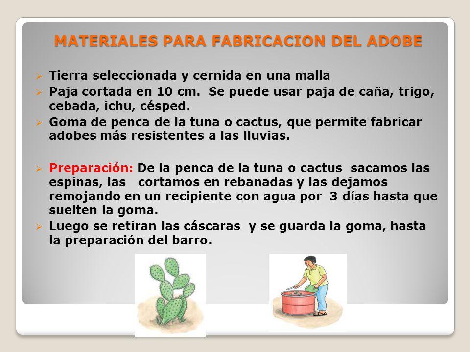 MATERIALES PARA FABRICACION DEL ADOBE
