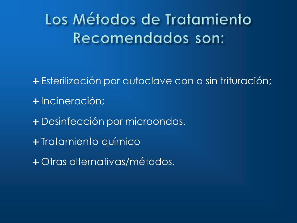 Los Métodos de Tratamiento Recomendados son: