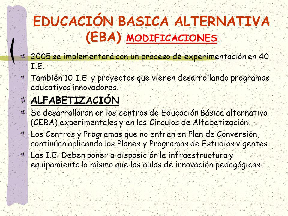 EDUCACIÓN BASICA ALTERNATIVA (EBA) MODIFICACIONES