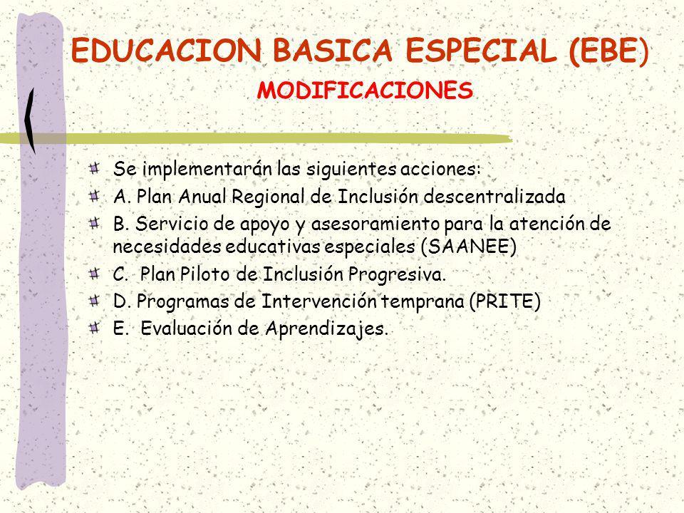 EDUCACION BASICA ESPECIAL (EBE) MODIFICACIONES