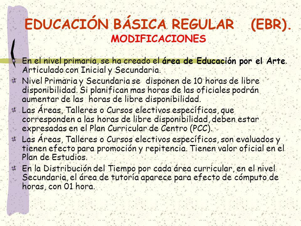 EDUCACIÓN BÁSICA REGULAR (EBR). MODIFICACIONES