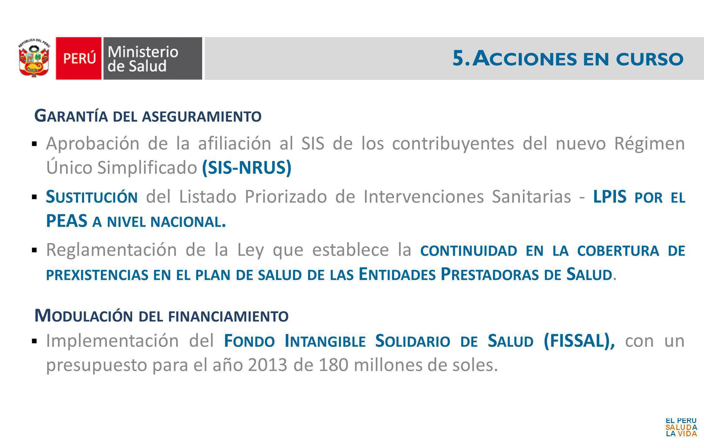 5. Acciones en curso Garantía del aseguramiento