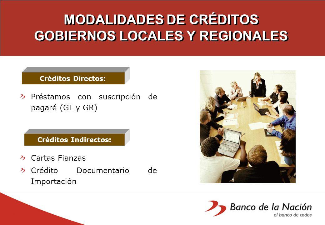 MODALIDADES DE CRÉDITOS GOBIERNOS LOCALES Y REGIONALES